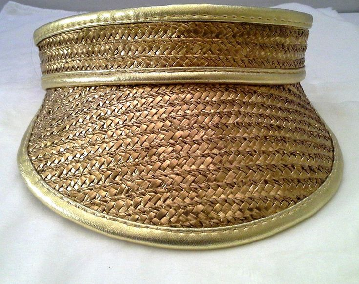 Womens Visor Hat Metallic Gold Straw Golf Tennis Mardi Gras Trim Expandable New #Unbranded #Visor