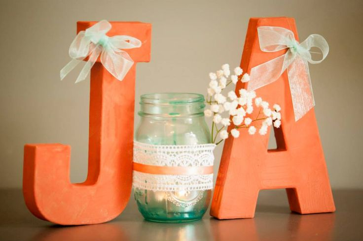 Wedding decoration coral and turquoise initials groom and bride DIY mansion jar with lace.