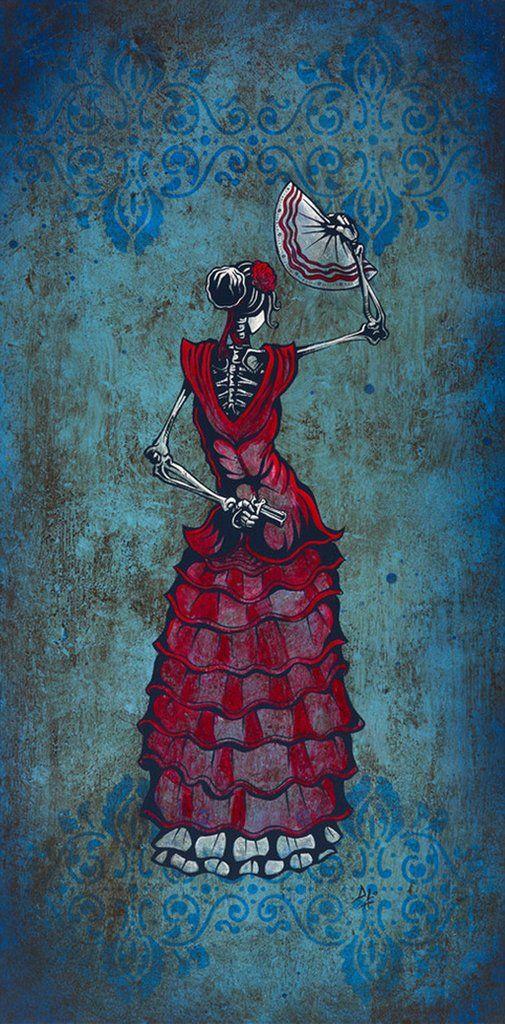 Flamenco Peligroso by David Lozeau Mexican Skeleton Canvas Art Print – moodswingsonthenet