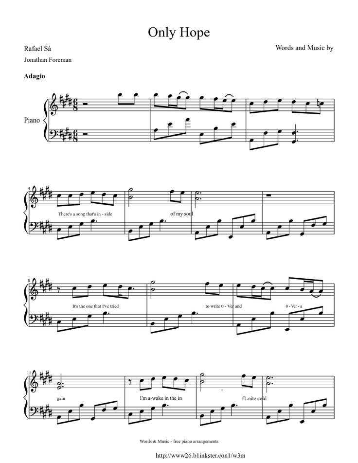 only hope piano sheet music free