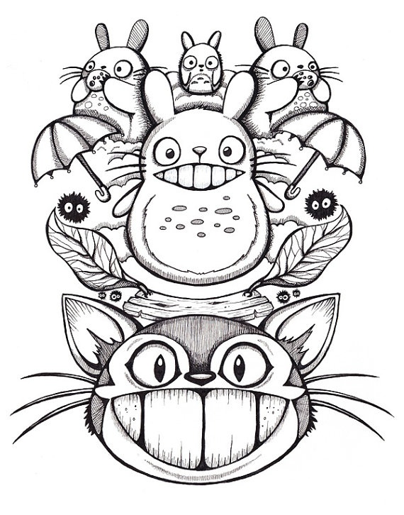 Totoro 11x14 Giclee Print Original ink drawing by Jessferatu, $15.00