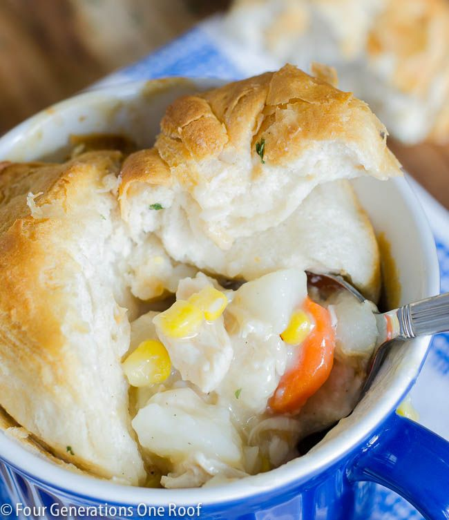 Try this easy delicious homemade chicken pot pie recipe. Cook in individual oven safe crocks or make a large pan. Top with biscuits and eat!