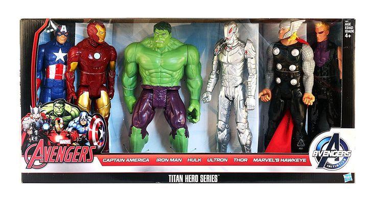 Coleção Bonecos da Marvel - Os Vingadores Titan - Capitão América, Homem de Ferro, Hulk, Ultron, Thor, Gavião Arqueiro - 30 cm altura Você e seus filhos vão adorar brincar e colecionar os Bonecos da Marvel, réplicas de seus heróis favoritos! Vocês vão criar suas próprias aventuras!