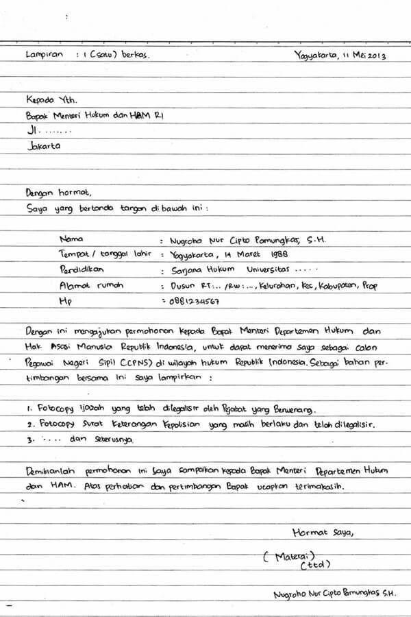 Contoh Surat Lamaran Kerja Tulisan Tulisan Tangan Cv Kreatif