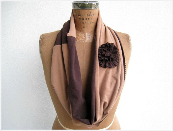NEW...T Shirt Infinity Scarf / Necklace / Chocolate Brown Latte by ohzie