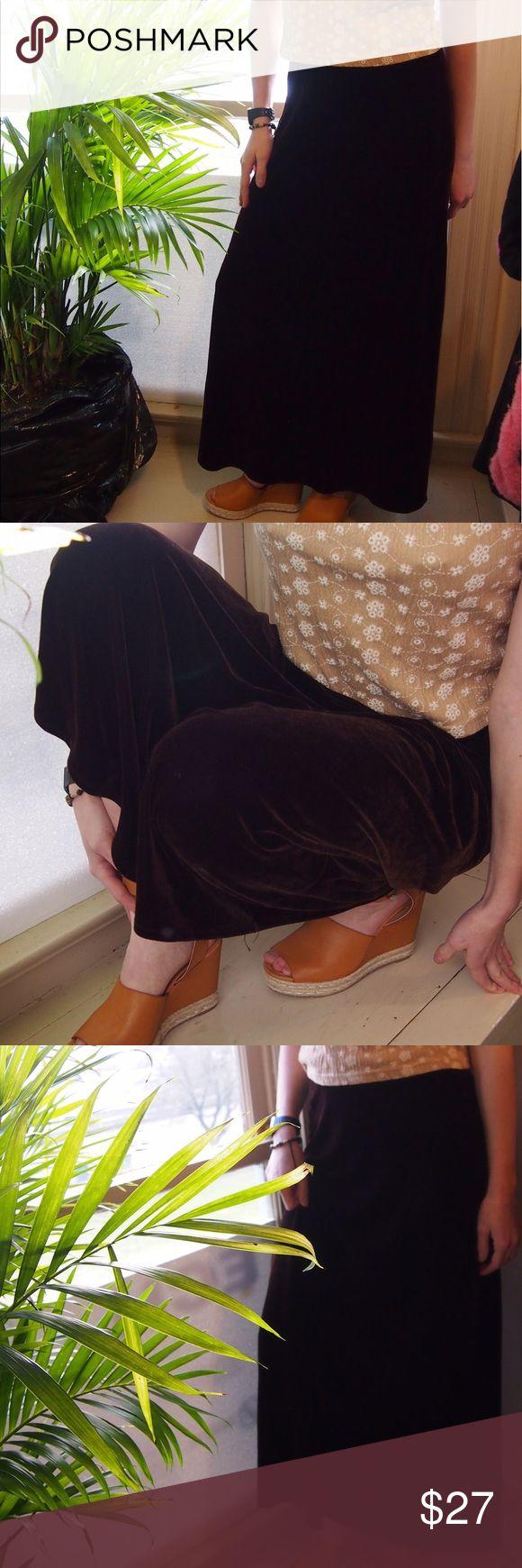 Velvet Brown Maxi Skirt (BCBG Maxazria) Brown long maxi velvet plush skirt. Open to offers. BCBGMaxAzria Skirts Maxi