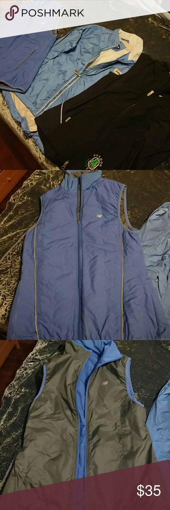 Lot of women's running jacket & 2 vests, Nike etc Both vests are in excellent condition and the jacket is in good used condition.  They are all size women's small.  Zippers work well. Clean, non-smoking home.  The jacket is waterproof and was around $150 new. Both vests are water resistant and the New Balance one is reversible.  Gear up now to stay in shape this winter!! Nike Jackets & Coats