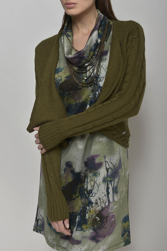 Knitted wrap cardigan/ A line printed dress/ Beaded necklace.