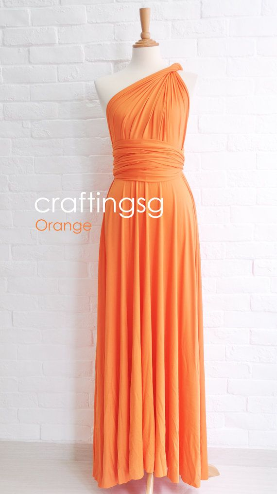 Bridesmaid Dress Infinity Dress Orange Floor Length by craftingsg