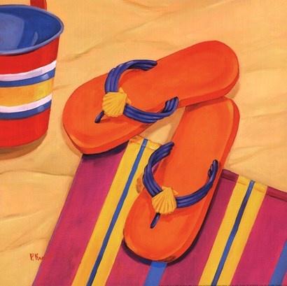 Orange Flip Flops by Paul Brent art print