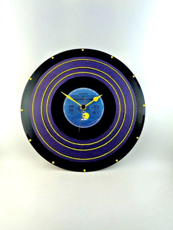 Purple&Yellow Vinyl Clock Hand Painted Upcycled by InsaneDotting