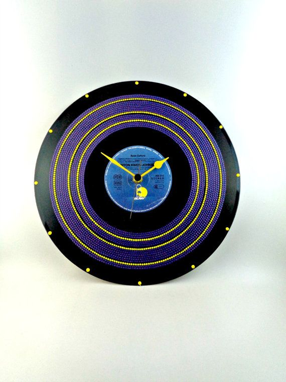 Purple&Yellow Vinyl Clock Hand Painted Upcycled by InsaneDotting