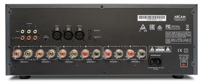 The Arcam FMJ P349 3-channel power amplifier can be used to upgrade the sound of the front 3 speakers in a surround sound system, replacing the on-board amplifiers of an AVR that has pre-outputs. Connections.