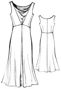 Pattern dress with Roman folds (radial drapery)