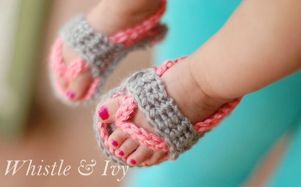 How-To: Crocheted Baby Flip Flop Sandals. So cute! I just wish I could crochet :)