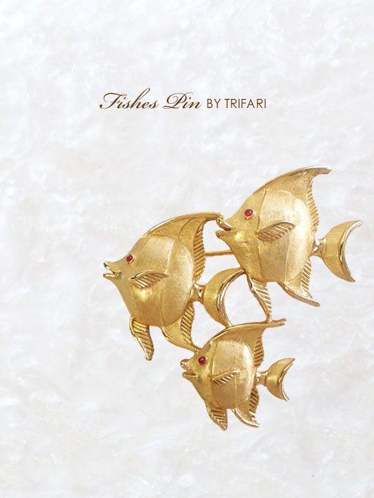 熱帯魚のビンテージブローチ TRIFARI(トリファリ)