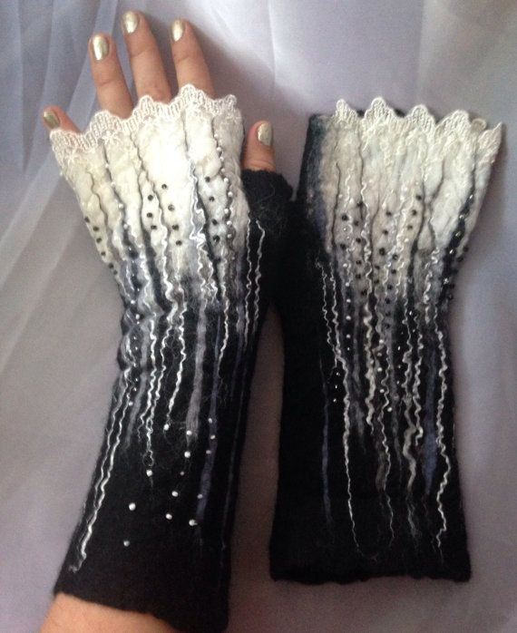 Custom orders only .Black grey gray white fingerless felted merinio wool gloves mittens nunofelted