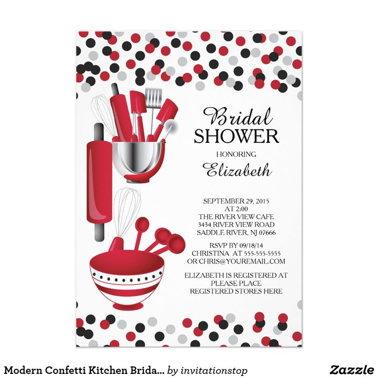 Modern Confetti Kitchen Bridal Shower Invitations Modern stock the kitchen bridal shower invitation featuring a rolling pin, mixing bowl, spatula, pizza cutter, whisk, vegetable peeler and measuring spoons set on a contemporary white background with red & black polka dot confetti. Visit our shop to view this invitation in a variety of popular wedding shower invitations.