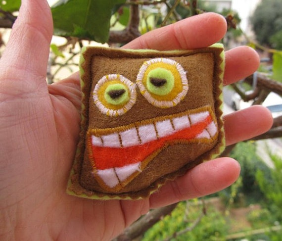 scary felt monster brooch big smile teeth gift coffee by mouhoxlab, $7.00
