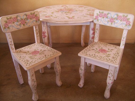 Handpainted Childu0027s Table And Chair Set Shabby Chic By GlendaOkiev