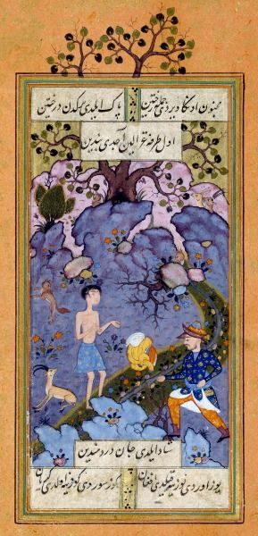 Majnûn, le « fou d'amour », dans le désert Fozûli Baghdâdi, Leylà ve Mejnûn (Layla et Majnûn) [Chirâz] (Iran), vers 1575-1580.