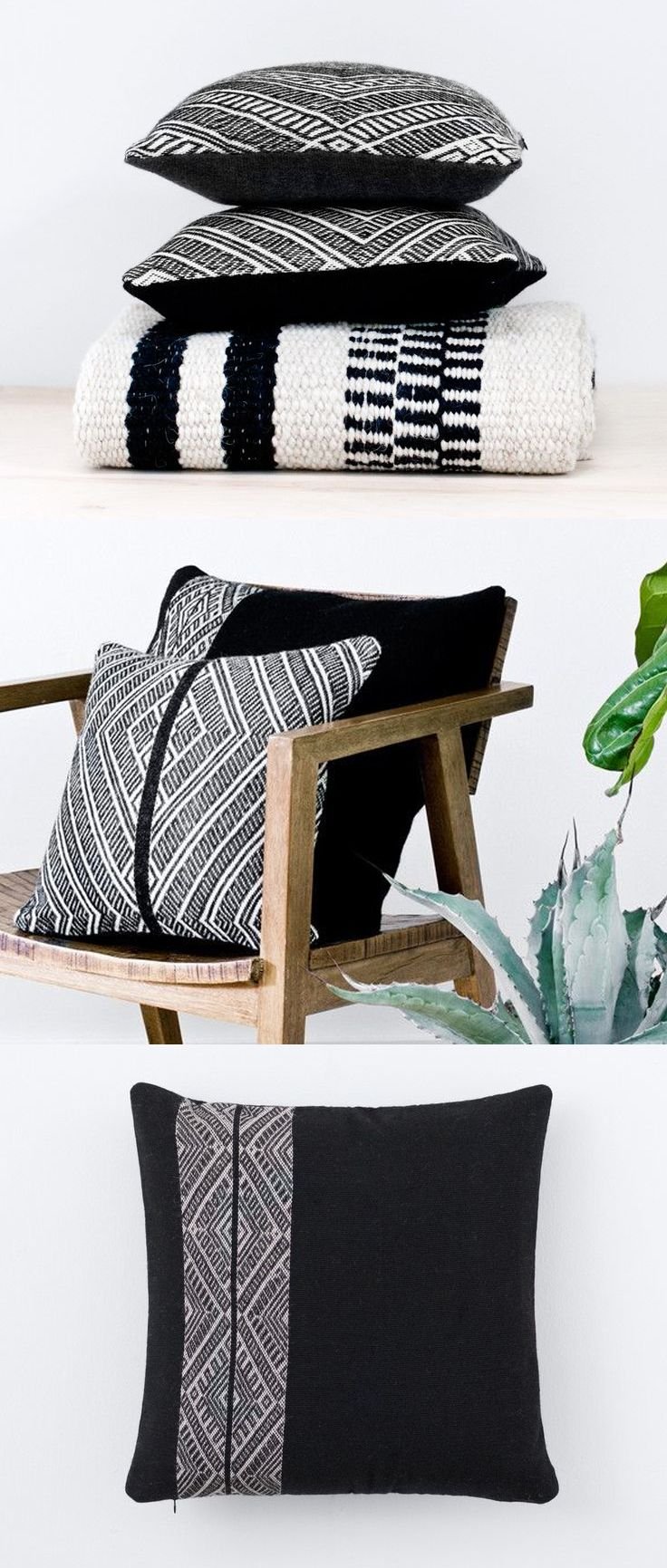 Sombra Rug, Black and White Pillows, Cool Chair