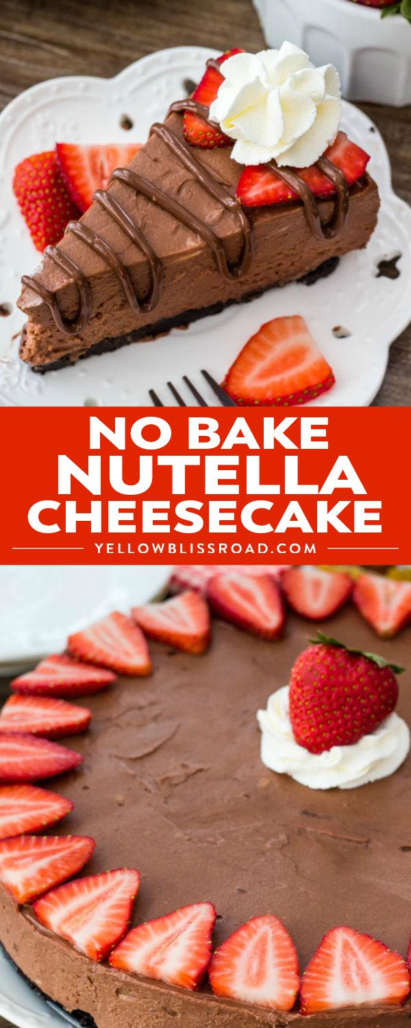 No bake Nutella cheesecake is smooth, creamy and filled with Nutella. It's a decadent cheesecake recipe thanks to the chocolate cookie crust and rich Nutella flavor and it's so easy to make. #nutella #cheesecake #nobake  via @yellowblissroad