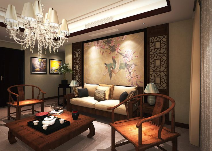 The Classical Chinese Interior Design Living Room Sofa Wall