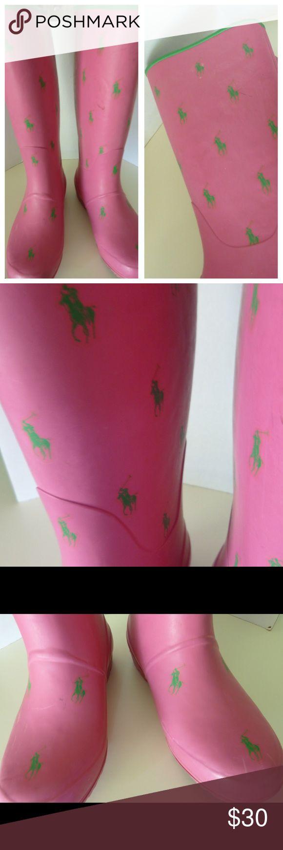 Ralph Lauren Polo Pink Rain Boots Size 7 Ralph Lauren Polo Pink Rain Boots Size 7 Great condition Pink with green polo logo Polo by Ralph Lauren Shoes Winter & Rain Boots