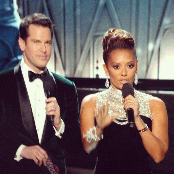 "Look what Mel B's been up to! ... With Thomas Roberts! #GlamourBaby ---> Via  Mel B    · November 14   #TBT to last week's #MissUniverse. Looks like I'm about to start singing ""stop right now...""  http://instagram.com/p/gt-jJSkBVm/"