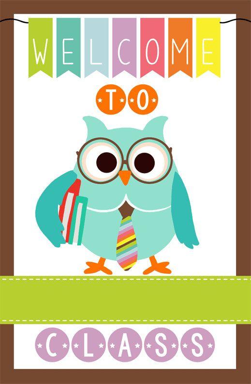 OWL theme classroom decor  Teacher Welcome Sign  by ArtrageousFun