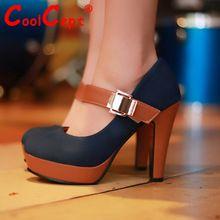 Mujeres noticias zapatos de tacón alto tacones mujeres se visten de moda de calzado hebilla bombas atractivas P2583 caliente venta 34-39(China (Mainland))