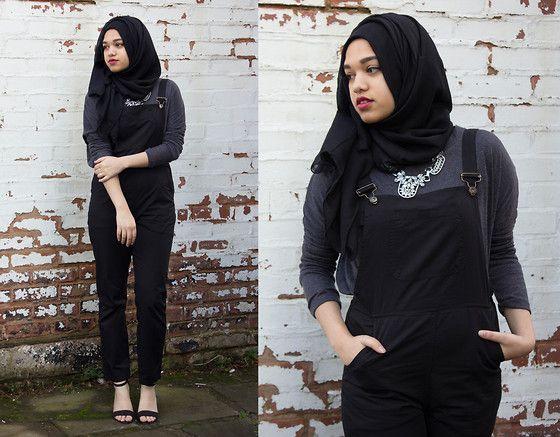 Saima Chowdhury - Al Madina Hijabs Black Scarf, Populaltd Crystal Necklace, Primark Grey Long Sleeve Top, Frontrowshop Dungarees, Primark Strap Heels - DUNGAREE