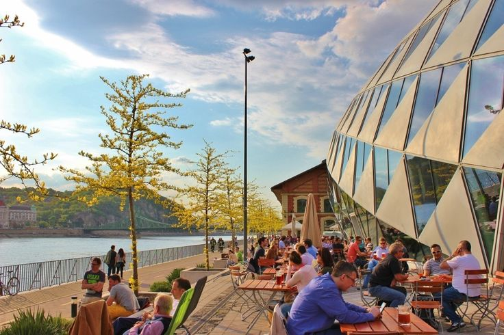 Jonas Bar in Budapest Hungary with outdoor seating along the river.