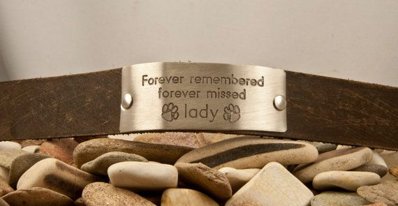 Paw print pet remembrance , forever missed, custom leather bracelet