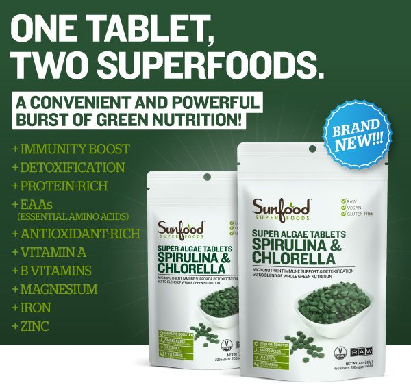 Our Spirulina & Chlorella Tablets are a 50/50 raw blend of two potent, chlorophyll and protein-rich algae. Combined, they provide a full array of micro and macro nutrients including all the essential amino acids, vitamins B1, B2, B6, and B12, magnesium, iron, zinc, healthy fats and vitamin A (beta-carotene). The two algae complement each other perfectly, containing antioxidants (carotenoids) and anti-inflammatory compounds to boost immunity, while simultaneously working to detoxify and…