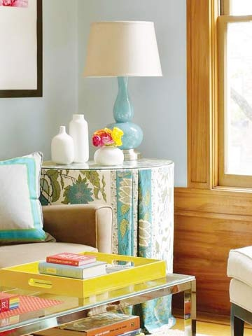 Living Room Makeover - Better Homes and Gardens - BHG.com ~ tailored skirt for an end table out of a colorful tablecloth.: Tables Clothing, Living Rooms, Living Room Makeovers, Colors Design, Tailored Skirts, End Tables, Skirts Tables, Hgtv Makeovers, Colors Tablecloth