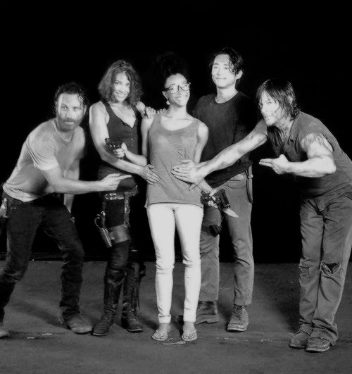 """"""" therealsonequa: When I broke the baby news to some of my #twdfam. So, so much love going around. ❤️ #tbt """""""