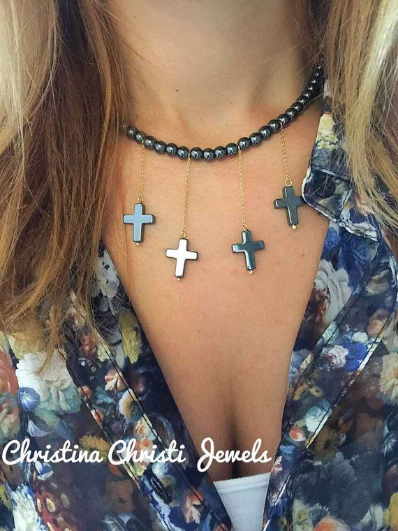 Cross Necklace Hematite Beaded Necklace and by ChristinaChristiJls