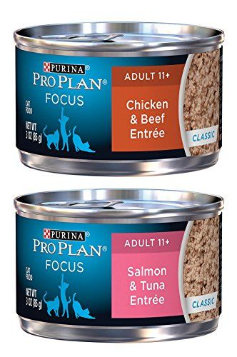 Purina Pro Plan Focus Adult 11 Variety Pack 2 Flavors Classic Salmon Tuna  Entree and Classic Chicken Beef Entree 12 Total Cans ** Find out more about  the ...