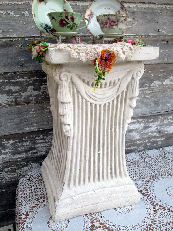 Vintage Shabby White Roman Column Plant Stand Roman