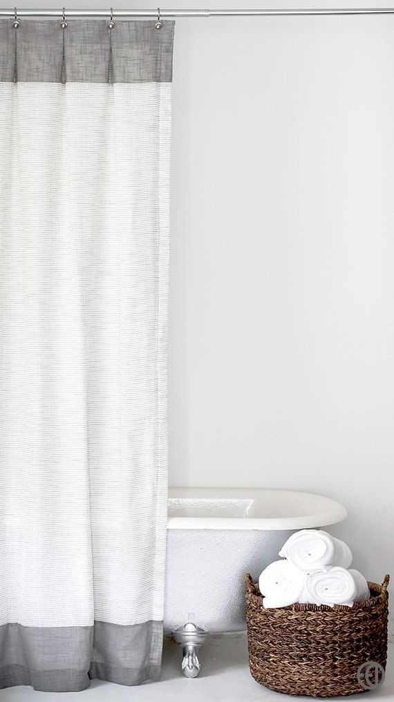 Grey and White Extra Long Fabric Shower Curtain by emilyellingwood