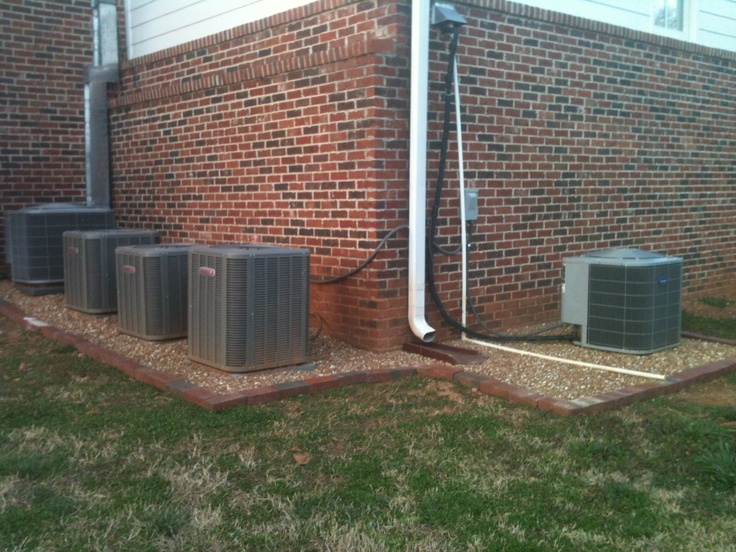 Pea Gravel around air conditioning units Landscaping