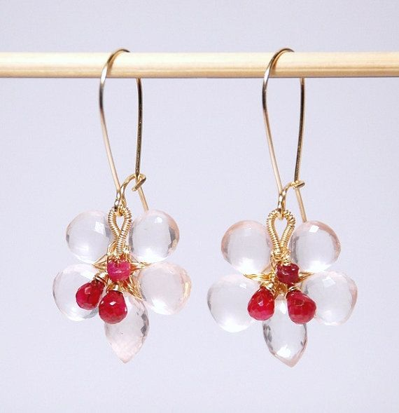 Rose quarts ruby flower earrings 14K gold filled by JWjewelrybox, $86.00