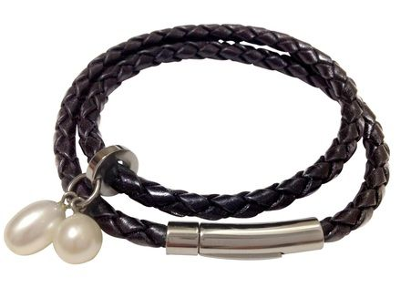 Plaited leather wrap bracelet with stainless steel hardware and two mother of shell pearls.  Circumference approximately 18-19 cm.