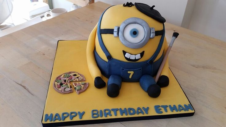 Minion painting and pizza party cake