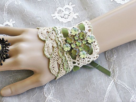 Victorian Lace Wrist Cuff Moss Green Cuff by LaVieilleLune