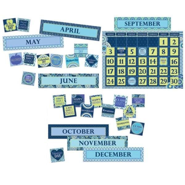 "This Blue Harmony calendar bulletin board is a fun addition to your room! Includes: 1 calendar poster (24"" x 17""), 12 month headers, 33 date cards, and 37 special day markers."