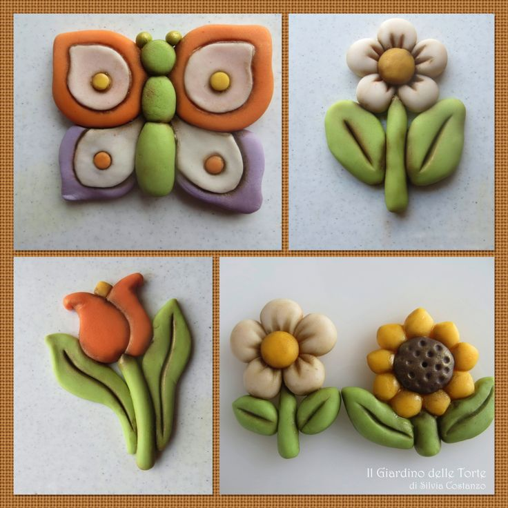 Thun Style flowers and butterfly - Tulip, daisy, sunflower and butterfly made with sugar paste.