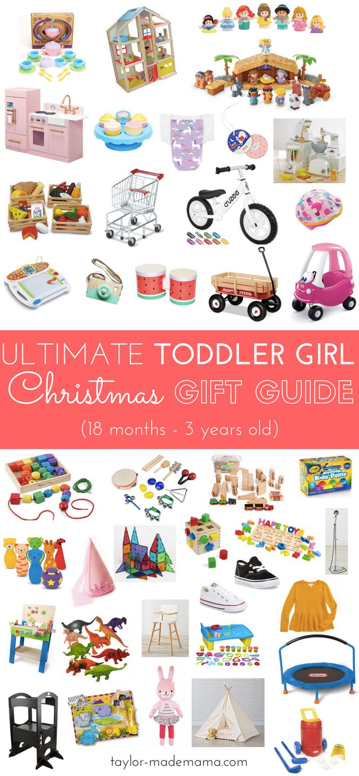 The Ultimate Toddler Girl Gift Guide! Developmentally appropriate toys that will grow with your tot! Gift ideas for your toddler this Christmas! Toddler stocking stuffer ideas. Toddler Christmas Gift Guide.